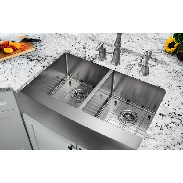 32.875 L x 20.75 W Farmhouse/Apron Kitchen Sink With Grid Set and Drain Assemblies by Soleil