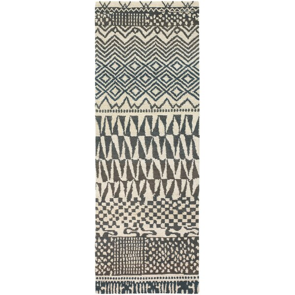 Thelma Hand-Knotted Wool Rectangle Beige/Light Gray Area Rug by Bloomsbury Market