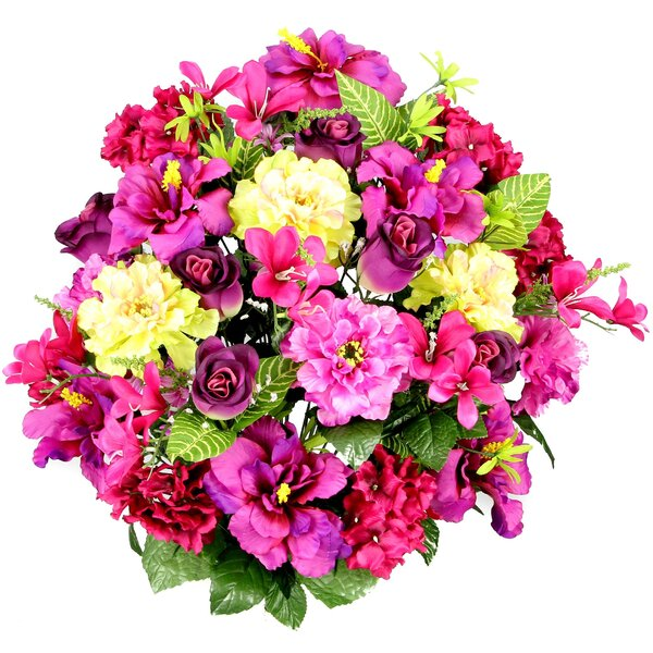 36 Stems Artificial Hibiscus, Rosebud, Freesias and Fillers Flower Mixed Bush with Greenery by August Grove