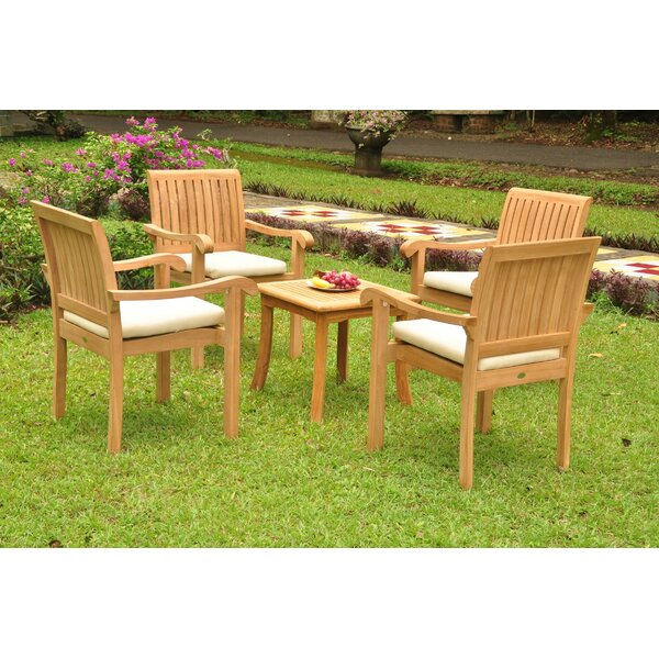 Raycliff Luxurious 4 Piece Teak Dining Set by Rosecliff Heights