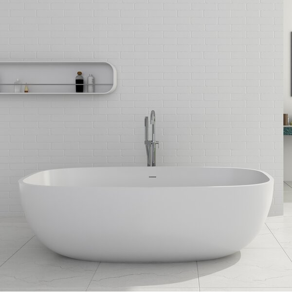 Giorgio Solid Surface 67 x 27.5 Freestanding Soaking Bathtub by Cheviot Products