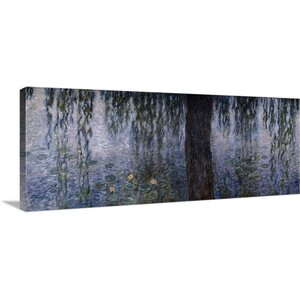 'Waterlilies, Morning with Weeping Willows' by Claude Monet Painting Print on Wrapped Canvas by Great Big Canvas