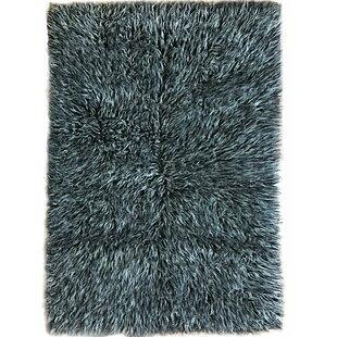 Talan Flokati Wool Black/White Area Rug ByLatitude Run