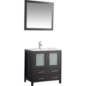 30 vanity with sink. Holley 30  Single Bathroom Vanity Set with Mirror Modern Vanities Cabinets AllModern