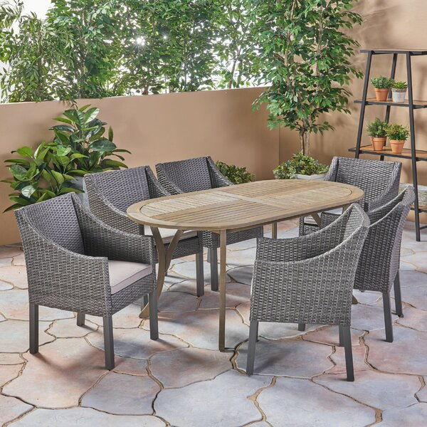 West Adams Outdoor 7 Piece Dining Set with Cushions by Bungalow Rose