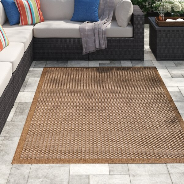 Dondale Light Tan/Brown Patchwork Natural Indoor / Outdoor Area Rug