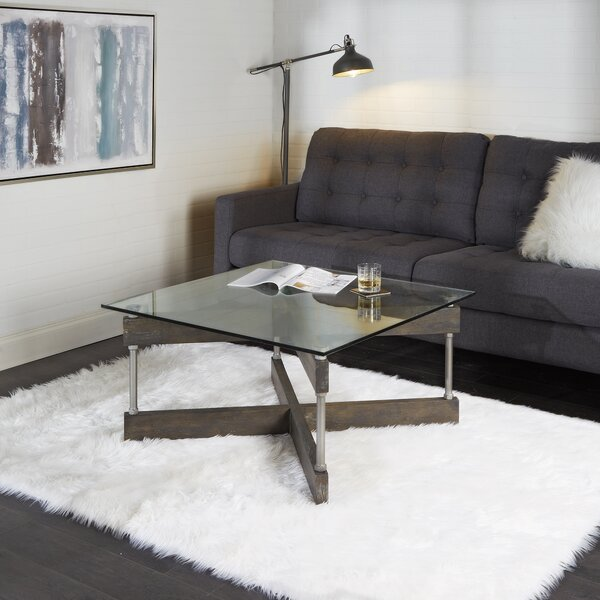 Reiner X-Frame Glass and Wood Coffee Table by Williston Forge