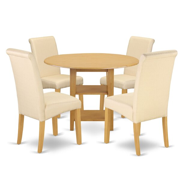 America Small Table 5 Piece Drop Leaf Solid Wood Breakfast Nook Dining Set by Winston Porter
