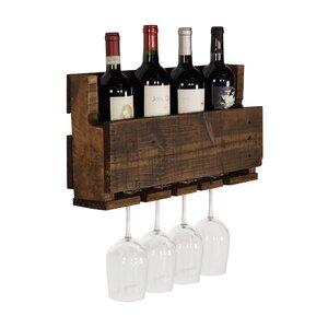Kupunkamint 4 Bottle Wall Mounted Wine Bottle Rack