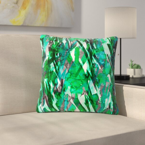 Ebi Emporium Frosty Bouquet Maroon Abstract Outdoor Throw Pillow by East Urban Home