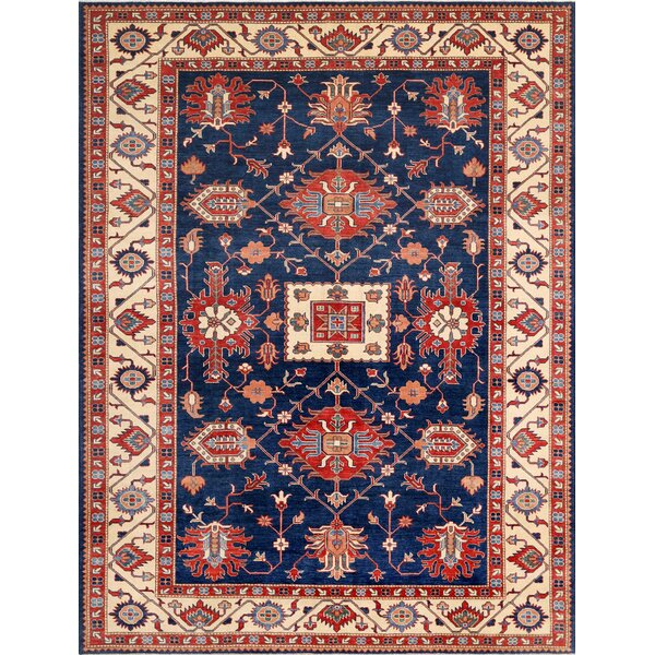 Kazak Hand-Knotted Blue/Beige Area Rug by Pasargad