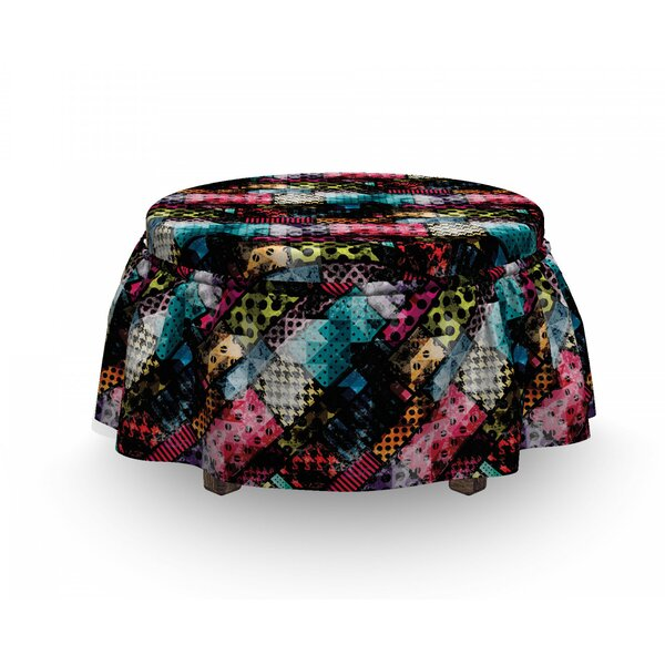 Abstract Vibrant Traditional 2 Piece Box Cushion Ottoman Slipcover Set By East Urban Home