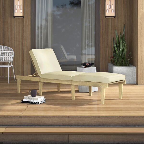 Ardsley Reclining Teak Chaise Lounge With Cushion By Mercury Row