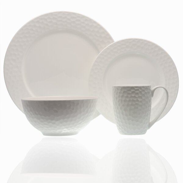 Pebble Beach 16 Piece Bone China Dinnerware Set, Service for 4 by Red Vanilla