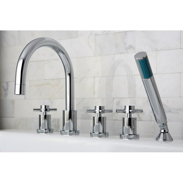 Concord Three Handle Roman Tub Faucet with Hand Shower by Kingston Brass