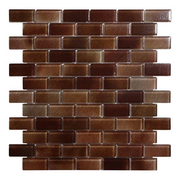 Hi-Fi Offset Brick 1 x 2 Glass Mosaic Tile in Brown by Kellani