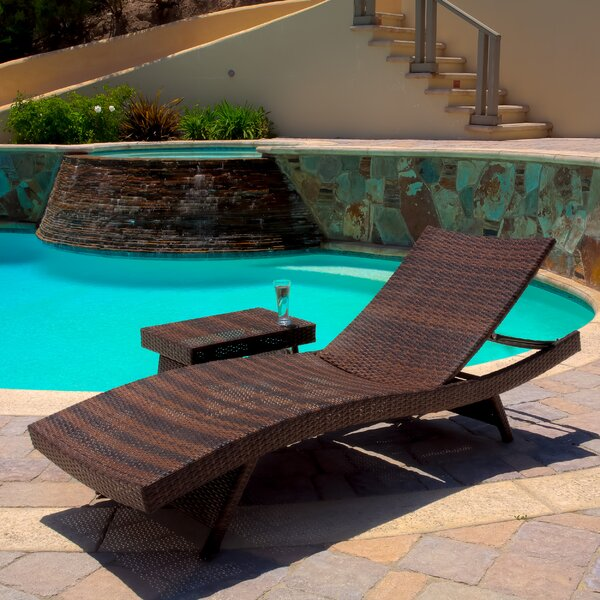 Deems 2 Piece Adjustable Lounge and Wicker Table Reclining Chaise Lounge by Bay Isle Home