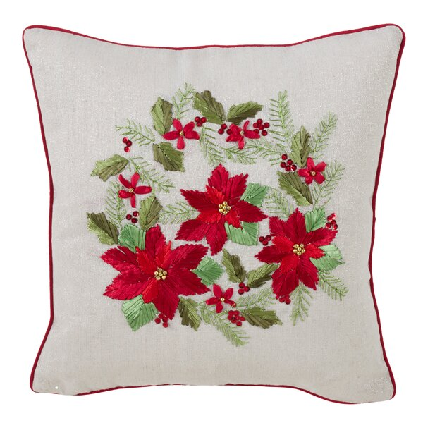 Hanish Poinsettia Design Throw Pillow by The Holiday Aisle