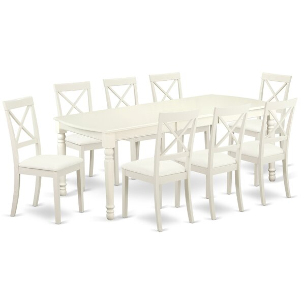 Pimentel 9 Piece Solid Wood Dining Set by August Grove