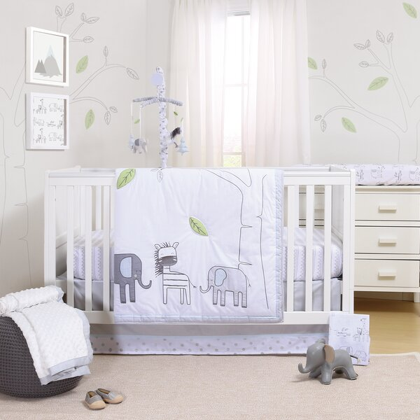 Elephant Park 3 Piece Crib Bedding Set by Little H