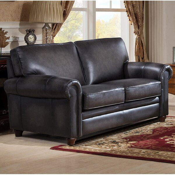 Shop For Stylishly Selected Barta Leather Loveseat by Darby Home Co by Darby Home Co