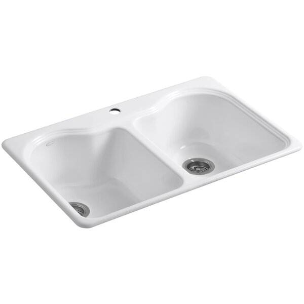 Hartland 33 L x 22 W x 9-5/8 Double Basin Drop-In Kitchen Sink by Kohler