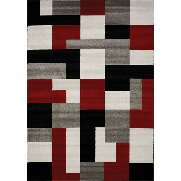 Absecon Blocks Red/Gray Area Rug by Wade Logan