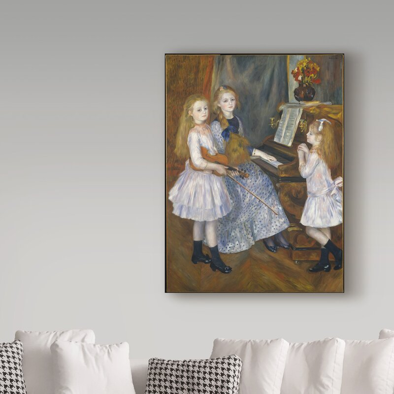 The daughters of Catulle Mendes by Pierre-Auguste Renoir Giclee Repro on Canvas