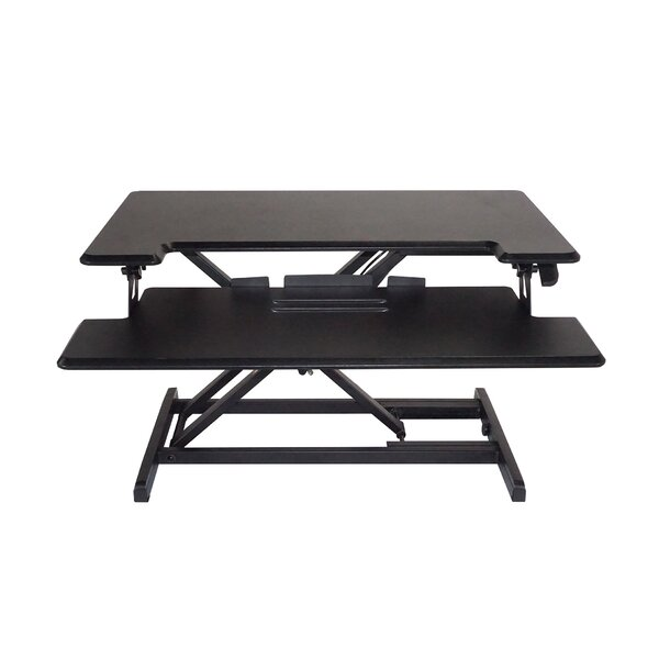 Brant Compact Height Adjustable Standing Desk with Keyboard Tray by Symple Stuff