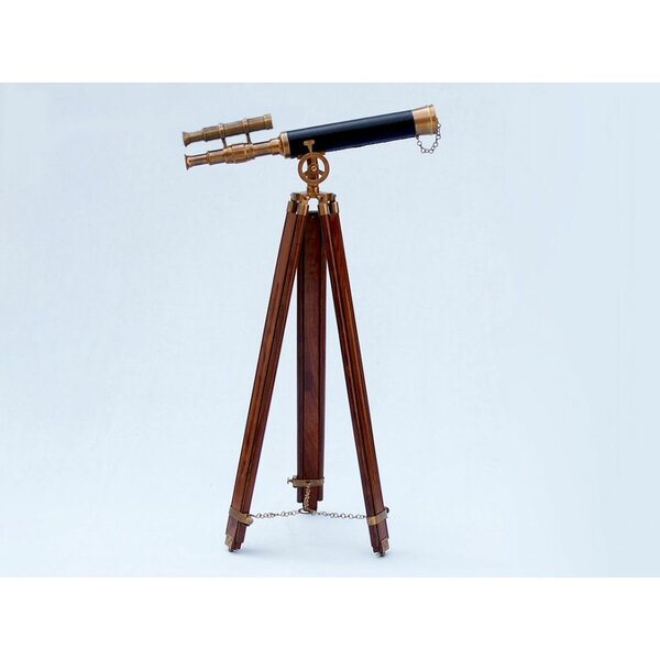Jessa Floor Standing Brass Harbor Master Decorative Telescope by Longshore Tides