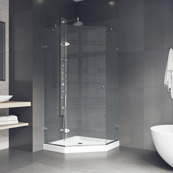 Verona 36.13 x 76.75 Neo-Angle Hinged Shower enclosure with Base Included by VIGO