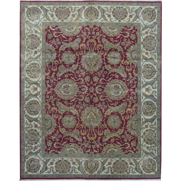 Oriental Hand-Knotted 8' x 10' Wool Red/Gold Area Rug