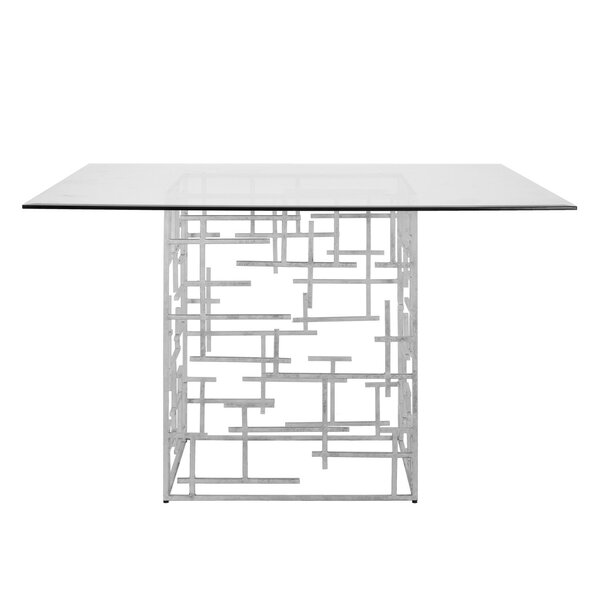 Abstract Dining Table with Glass Top by Worlds Away