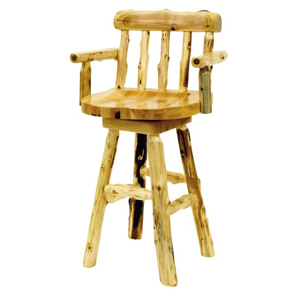 Traditional Cedar Log 30 Swivel Bar Stool by Fireside Lodge