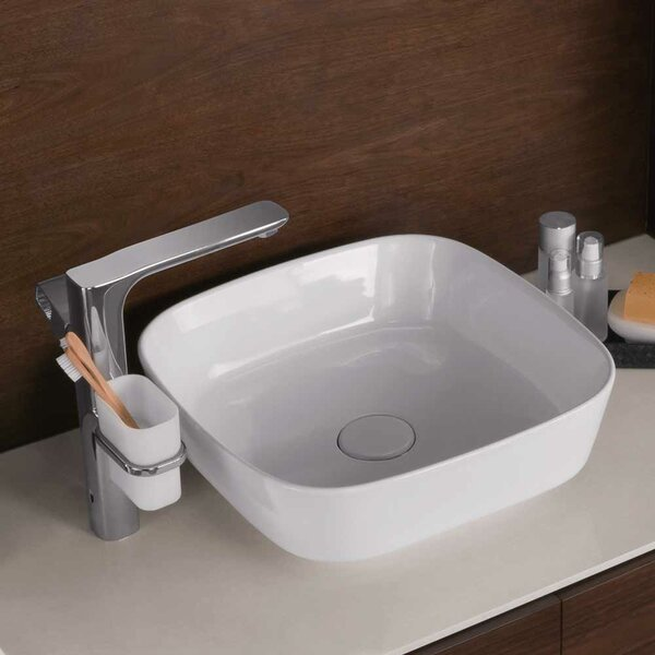 Arena Rounded Ceramic Square Vessel Bathroom Sink