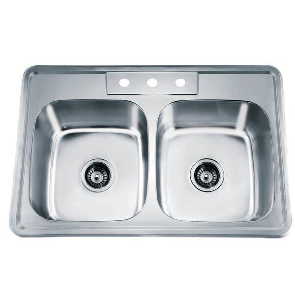 33.13 L x 22 W Top Mount Equal Double Bowl Kitchen Sink by Dawn USA