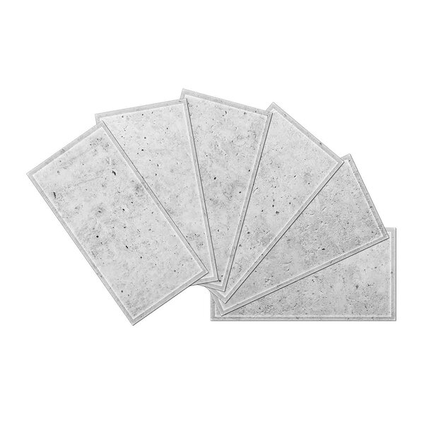 Crystal 3 x 6 Beveled Glass Subway Tile in Snow by Upscale Designs by EMA
