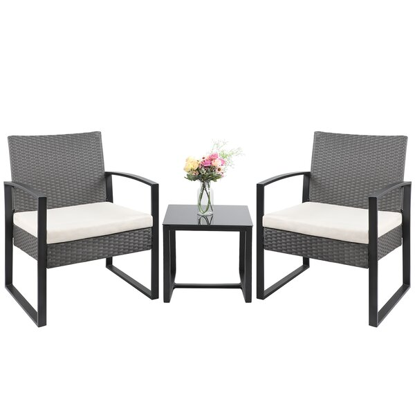 3 Piece Rattan Seating Group with Cushions by Ebern Designs