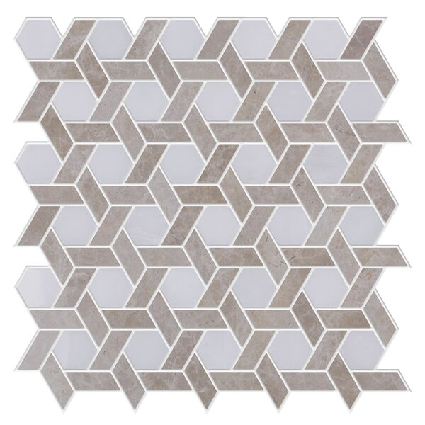 Woven Marble Tile in Cream/Tan by Byzantin Mosaic