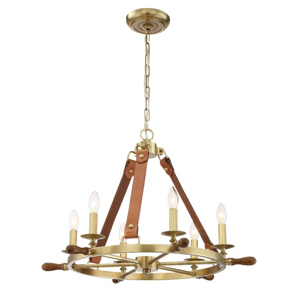 Hillendale 6 - Light Candle Style Wagon Wheel Chandelier By Longshore Tides