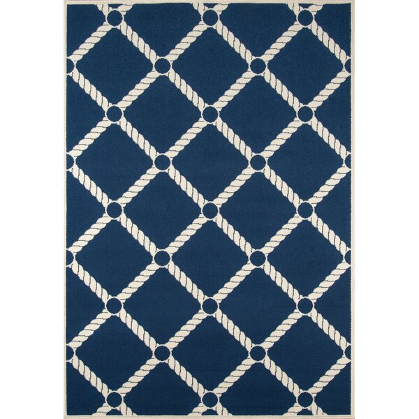 Halliday Navy/Ivory Indoor/Outdoor Area Rug by Beachcrest Home