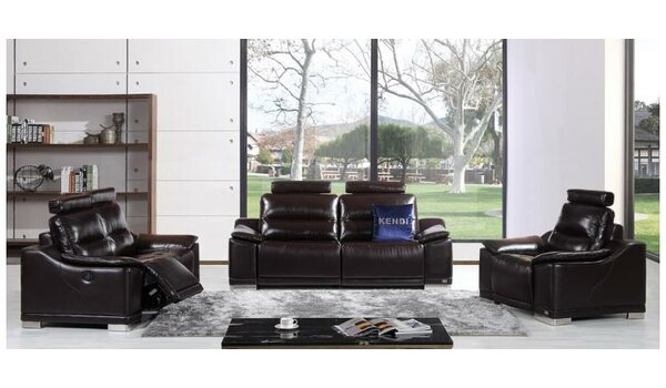 Oak Brook Reclining  3 Piece Leather Living Room by Orren Ellis