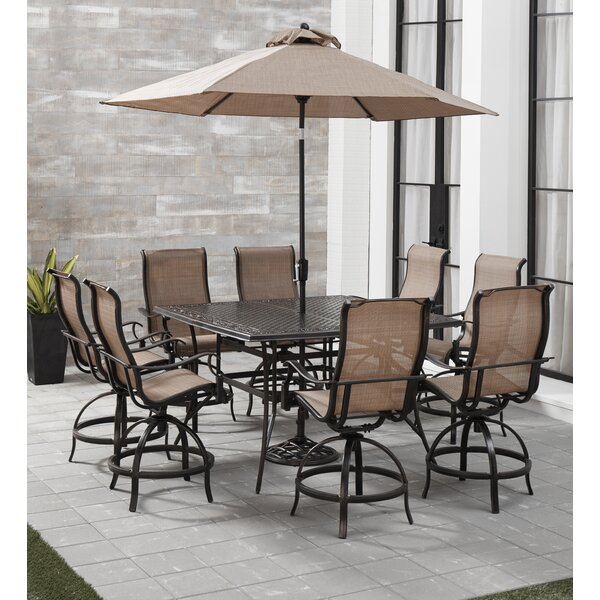 Bucher 9 Piece Outdoor Dining Set with Umbrella by Fleur De Lis Living