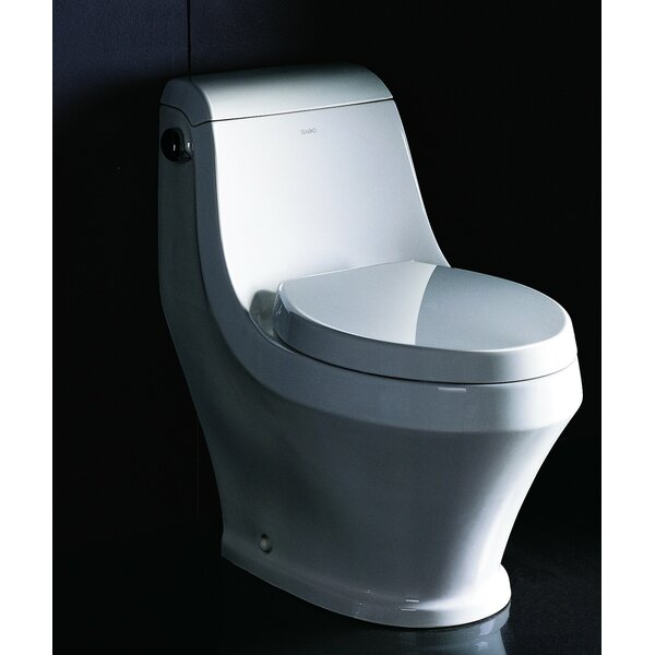 Single Siphonic Flush Ceramic 1.28 GPF Elongated One-Piece Toilet by EAGO