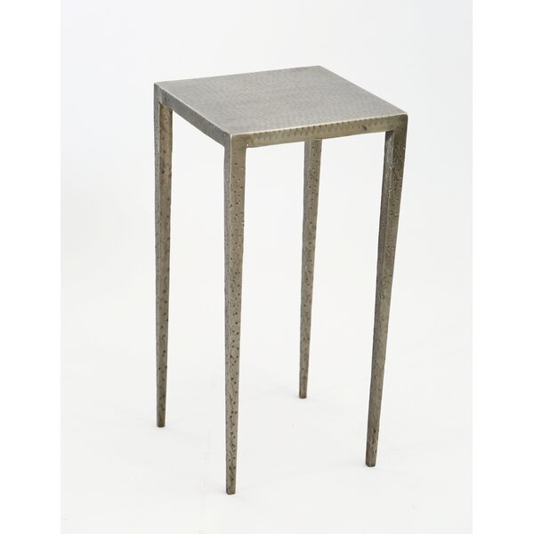 Mickinley Iron Hammered End Table by Bloomsbury Market