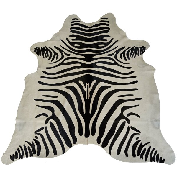 Designer Cowhides Printed Zebra Black/White Area Rug by Trophy Room Stuff