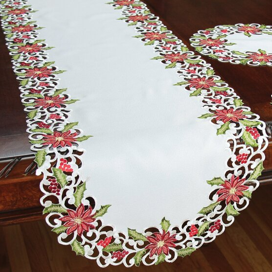 Poinsettia Lace Embroidered Cutwork Table Runner by Xia Home Fashions
