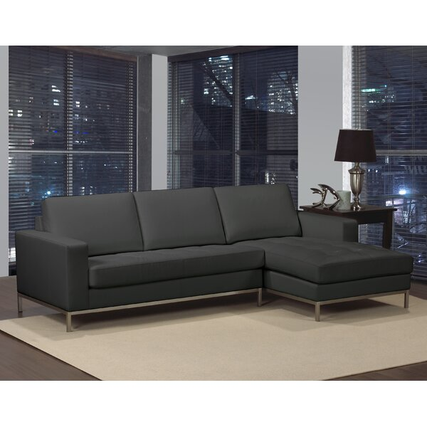 Witney Left Hand Facing Leather Sectional by Orren Ellis