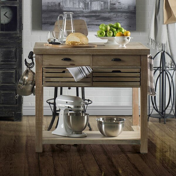 Clearfield Kitchen Cart Solid Wood by Rosecliff Heights