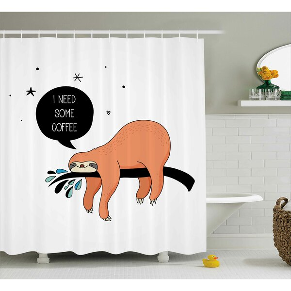 Estes Shy Happy Cartoon Sloth Shower Curtain by Ebern Designs